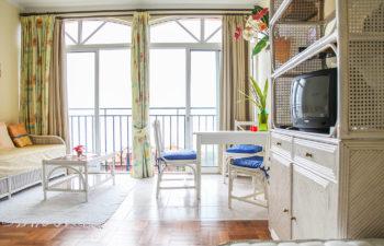 Überblick Wohnzimmer, links Couch mit Tisch, rechts Sitzgruppe mit drei Sesseln im Vordergrund Fernsehmöbel alles vor einem Fenster